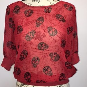 Eyelash Couture Burgundy Top with Skeletons